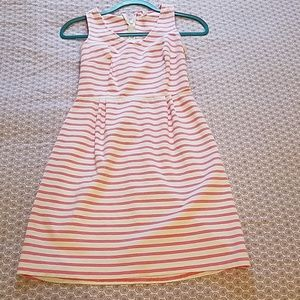 White and pink stripes dress